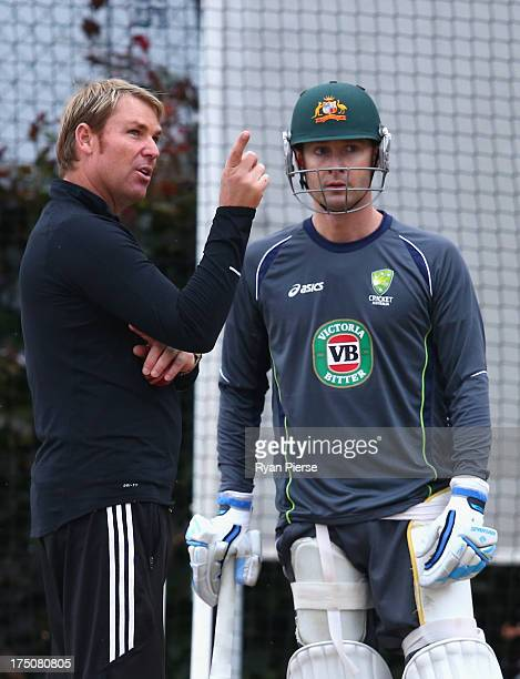 Former Australian Bowler Shane Warne and Michael Clarke of Australia talk during an Australian Nets Session at Old Trafford on July 31 2013 in...