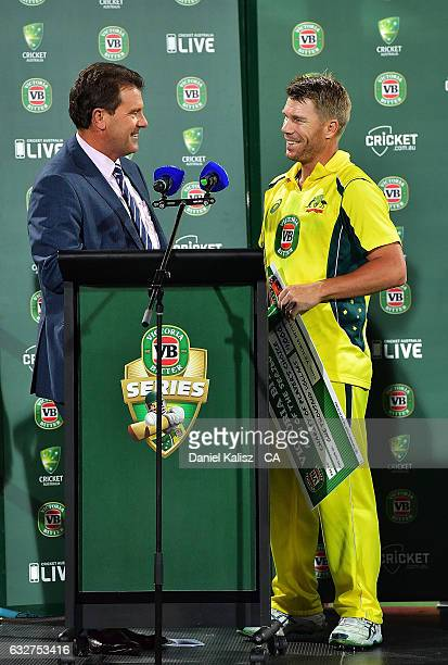 Former Australian captain and channel nine commentator Mark Taylor interviews David Warner of Australia after game five of the One Day International...