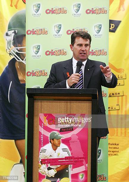 Former Australian captain Mark Taylor former talks to students about issues relating to racism and bullying in sports during the launch of Cricket...
