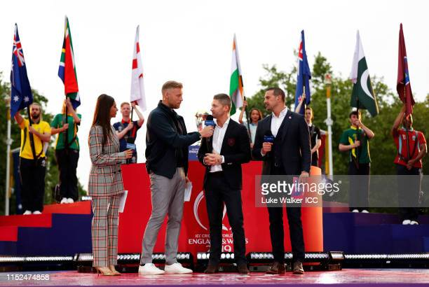 Former Australian Captain Michael Clarke is interviewed during the ICC Cricket World Cup 2019 Opening Party at The Mall on May 29, 2019 in London,...