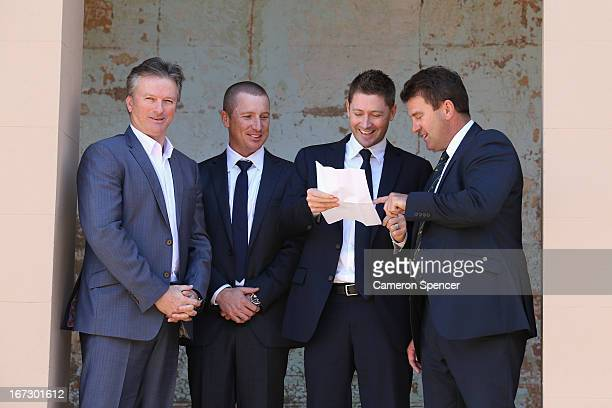 Former Australian captain Steve Waugh Brad Haddin of Australia Australian captain Michael Clarke and former Australian captain Mark Taylor talk...