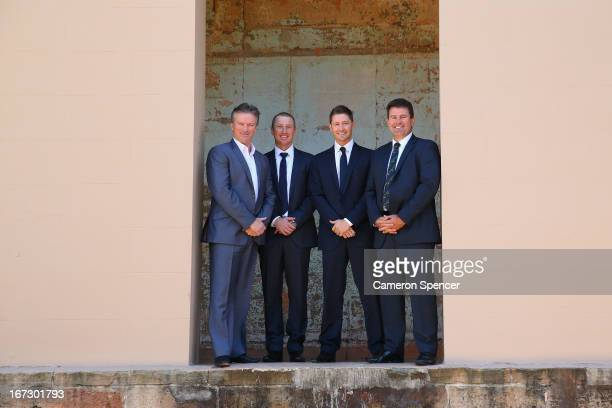 Former Australian captain Steve Waugh, Brad Haddin of Australia, Australian captain Michael Clarke, and former Australian captain Mark Taylor pose...