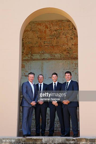 Former Australian captain Steve Waugh Brad Haddin of Australia Australian captain Michael Clarke and former Australian captain Mark Taylor pose...