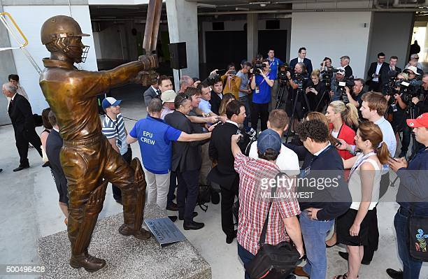 Former Australian cricket captain Ricky Ponting speaks to the media after unveiling his statue as Australia prepare for the first cricket Test match...