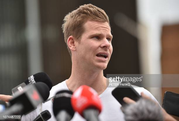 Former Australian cricket captain Steve Smith speaks during a press conference at the Sydney Cricket Ground in Sydney on December 21 2018 / IMAGE...