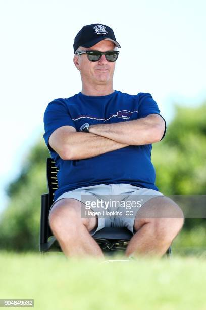 Former Australian cricket captain Steve Waugh looks on as son Austin Waugh plays in the ICC U19 Cricket World Cup match between India and Australia...
