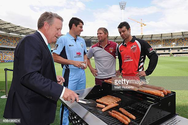 Former Australian cricket player Ian Healy Moises Henriques of New South Wales James Hopes of Queensland and Callum Ferguson of South Australia pose...