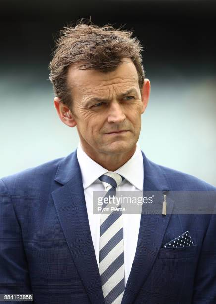 Former Australian Cricketer Adam Gilchrist looks on during day one of the Second Test match during the 2017/18 Ashes Series between Australia and...