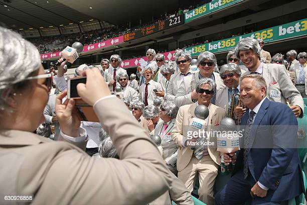 Former Australian cricketer and current commentator Ian Healy poses with The Richies a group of supporters dressed up as former Australian cricket...