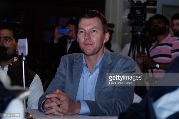 Former Australian cricketer Brett Lee during the Vivo Pro Kabaddi press conference on May 8 in New Delhi India The upcoming fifth season of Pro...