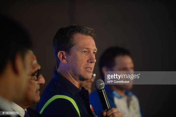 Former Australian cricketer Glenn McGrath speaks during a press conference in Chennai on July 17 2017 / AFP PHOTO / ARUN SANKAR