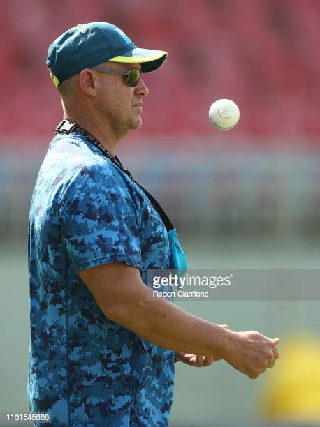 Former Australian cricketer Matthew Hayden looks on during the practice session at ACAVDCA Stadium ahead of game one in the T20I Series between India...