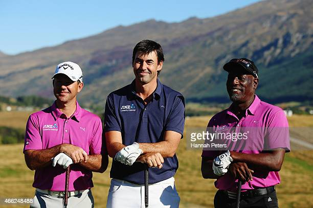 Former Australian cricketer Ricky Ponting, former New Zealand cricketer Stephen Fleming and former West Indies cricketer Sir Viv Richards pose for a...