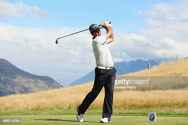 Former Australian cricketer Ricky Ponting tees off during day two of the New Zealand Open at The Hills Golf Club on March 13 2015 in Queenstown New...