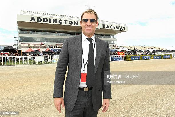 Former Australian cricketer Shane Warne arrives to host a press conference prior to the New Zealand Trotting Cup at Addington Raceway on November 11...