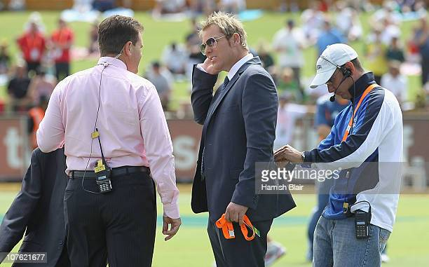 Former Australian cricketer Shane Warne speaks with former team mate Mark Taylor ahead of day one of the Third Ashes Test match between Australia and...