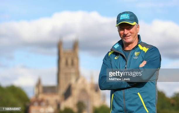 Former Australian Cricketer Steve Waugh looks on during day two of the Tour match between Worcester and Australia at Blackfinch New Road on August...