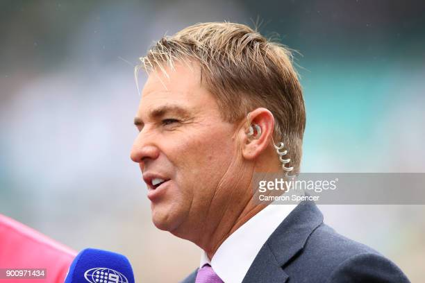 Former Australian crickter and commentator Shane Warne talks during day one of the Fifth Test match in the 2017/18 Ashes Series between Australia and...