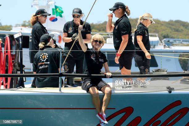 Former Australian Foreign Affairs Minister Julie Bishop on board Wild Oats X during the start of the Sydney to Hobart Yacht race on December 26 2018...