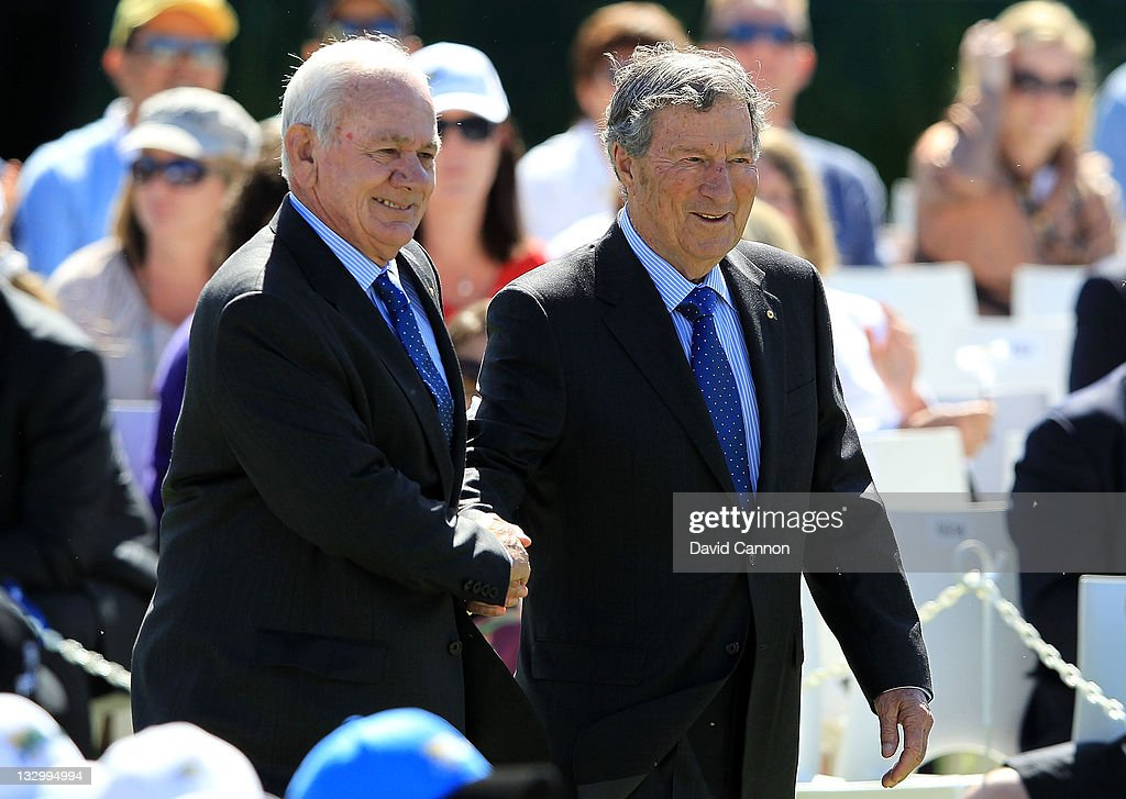 Former Australian golfers David Graham and Peter Thompson are introduced during the Opening Ceremony prior to the start of the 2011 Presidents Cup at Royal Melbourne Golf Course on November 16, 2011 in Melbourne, Australia.