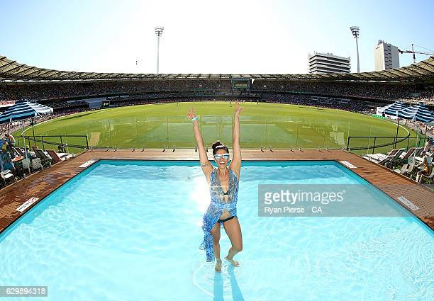 Former Australian Olympic Swimmer Stephanie Rice poses in the Pool Desk during day one of the First Test match between Australia and Pakistan at The...