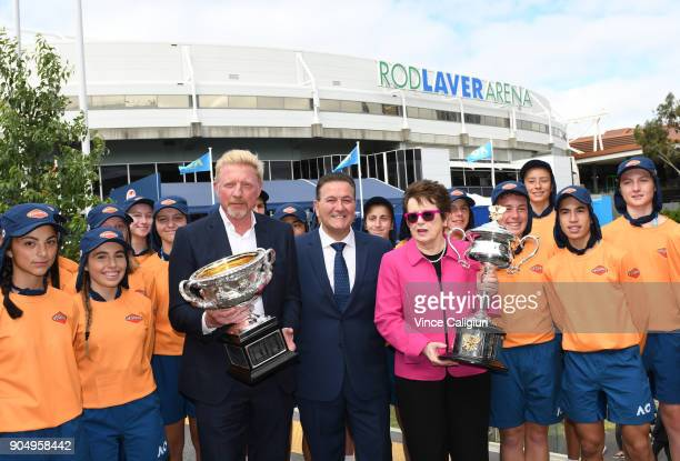 Former Australian Open Champions Boris Becker of Germany and Billie Jean King of the USA pose with MP John Eren and the Daphne Akhurst Memorial Cup...