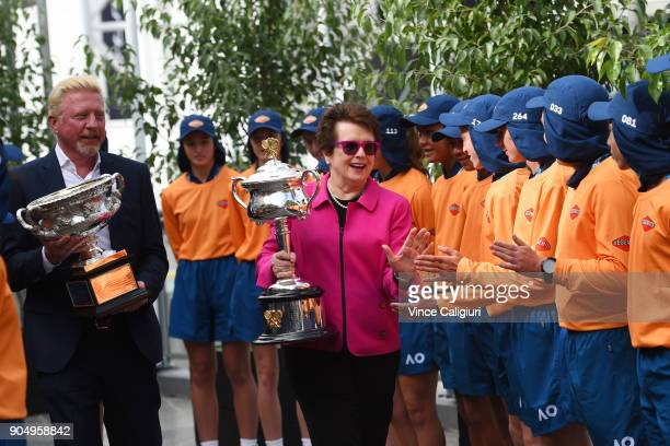 Former Australian Open Champions Boris Becker of Germany and Billie Jean King of the USA arrive with the Daphne Akhurst Memorial Cup and Norman...