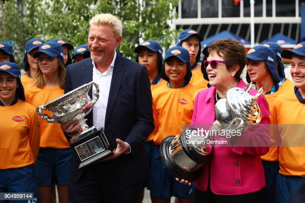 Former Australian Open Champions Boris Becker of Germany and Billie Jean King of the USA pose with the Daphne Akhurst Memorial Cup and Norman Brookes...
