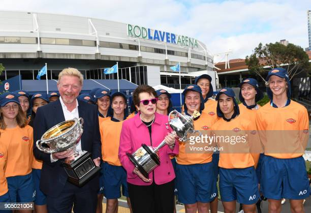 Former Australian Open Champions Boris Becker of Germany and Billie Jean King of the USA pose with the ball kids and the Daphne Akhurst Memorial Cup...