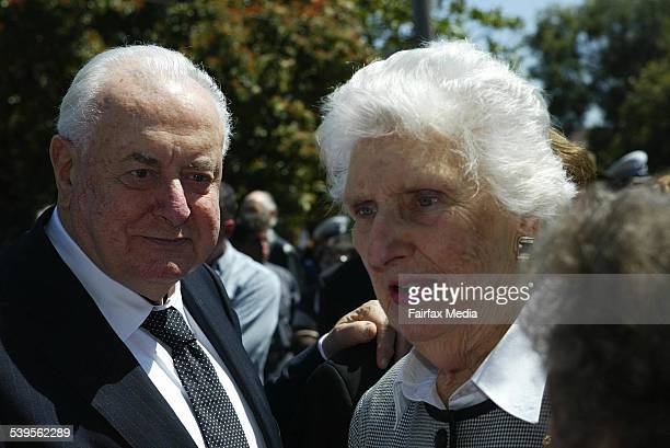 Former Australian Prime Minister and Labor Leader Gough Whitlam with wife Margaret Whitlam at the funeral for former Labor politician Jim Cairns in...