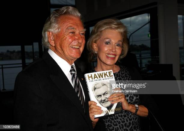 Former Australian Prime Minister Bob Hawke and Blanche d'Alpuget author and wife of former Australian Prime Minister Bob Hawke pose during the launch...