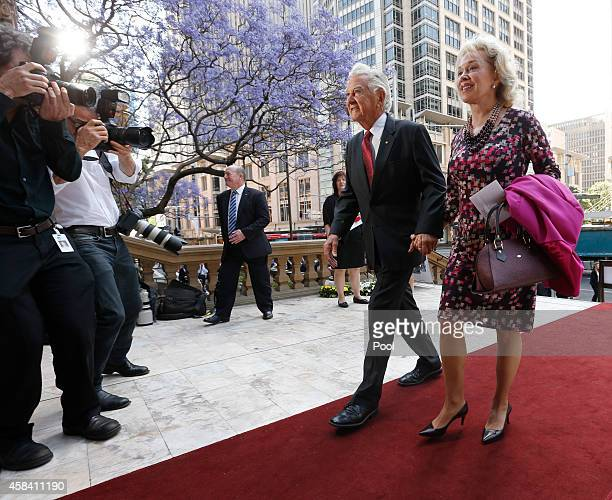 Former Australian Prime Minister Bob Hawke and his wife Blanche d'Alpuget arrive at the state memorial service for former Australian Prime Minister...