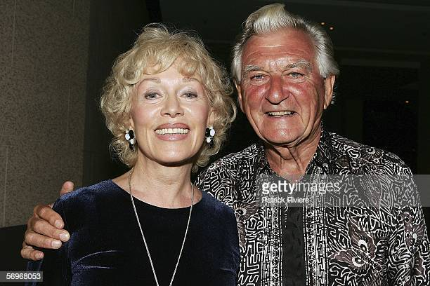 Former Australian Prime Minister Bob Hawke and his wife Blanche D'Alpuget attend the Laugh Out Loud party at the Dockside Cockle Bay on March 01 2006...