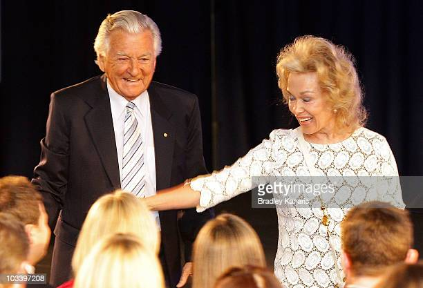 Former Australian Prime Minister Bob Hawke and wife Blanche d'Alpuget greet the crowd during the Labor Party campaign launch on August 16 2010 in...