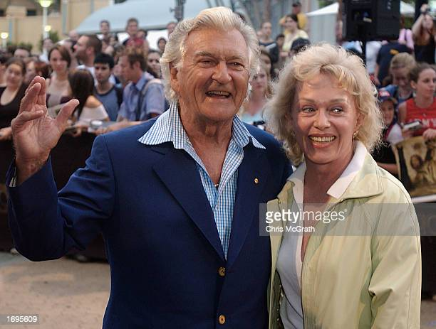 Former Australian Prime minister Bob Hawke arrives with Blanche D'Alpuget at the Australian premiere of The Lord of the Rings The Two Towers at Fox...