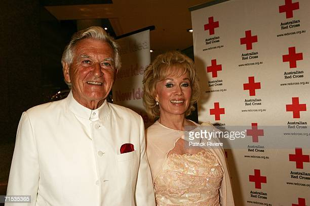 Former Australian Prime Minister Bob Hawke attends with his wife Blanche D'Alpuget The Australia Red Cross Red Rocks event at the Grand...