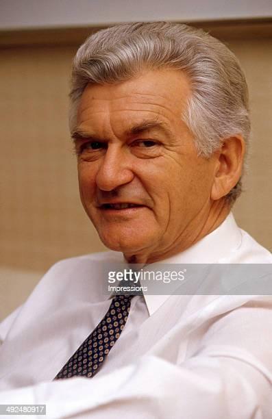 Former Australian Prime Minister Bob Hawke during a press conference in Melbourne