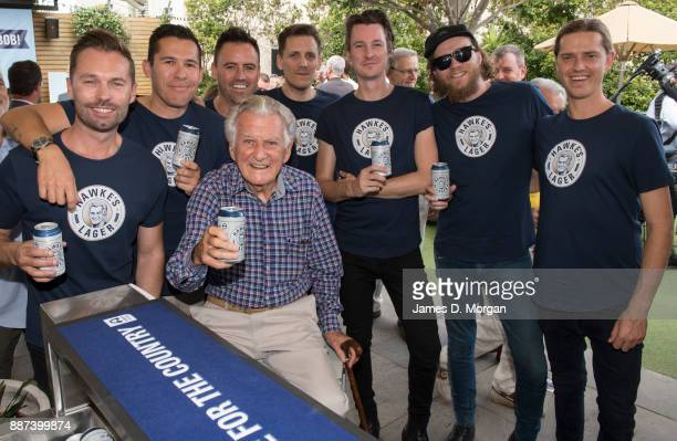 Former Australian Prime Minister Bob Hawke enjoys a Hawke's beer on December 7 2017 in Sydney Australia In an Australian first Madame Tussauds Sydney...