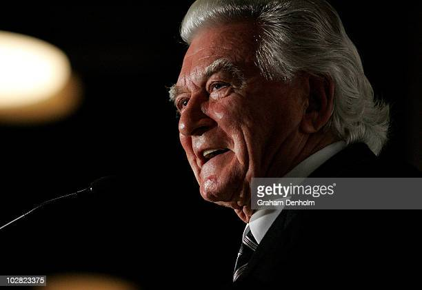 Former Australian Prime Minister Bob Hawke makes a speech during the launch of his biography 'Hawke The Prime Minister' at The Wharf on July 12 2010...