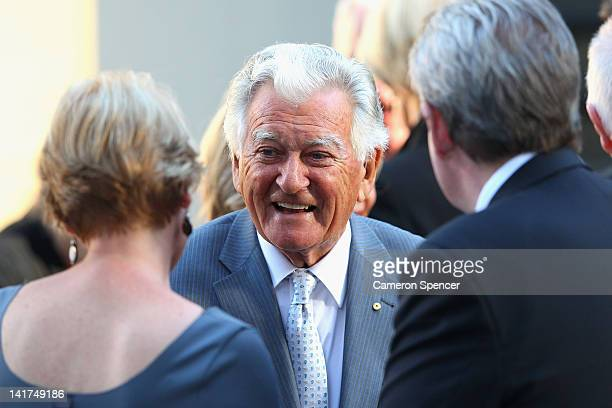 Former Australian Prime Minister Bob Hawke talks following the memorial service for Margaret Whitlam at St James Anglican Church on March 23 2012 in...
