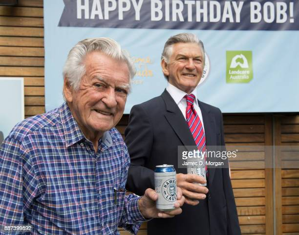 Former Australian Prime Minister Bob Hawke unveiled his remoulded wax hand on December 7 2017 in Sydney Australia In an Australian first Madame...