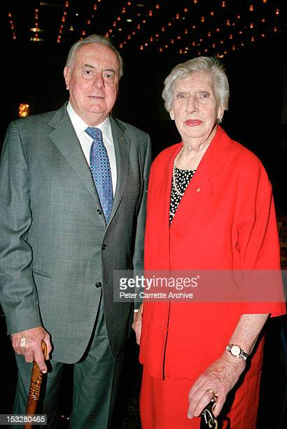 Former Australian Prime Minister Gough Whitlam and his wife Margaret Whitlam attend a Melbourne Cup Lunch at the Wentworth Hotel to raise funds for...