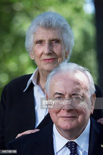 Former Australian Prime Minister Gough Whitlam and his wife Margaret Whitlam who will both deliver a speech about Australia's relations with China...