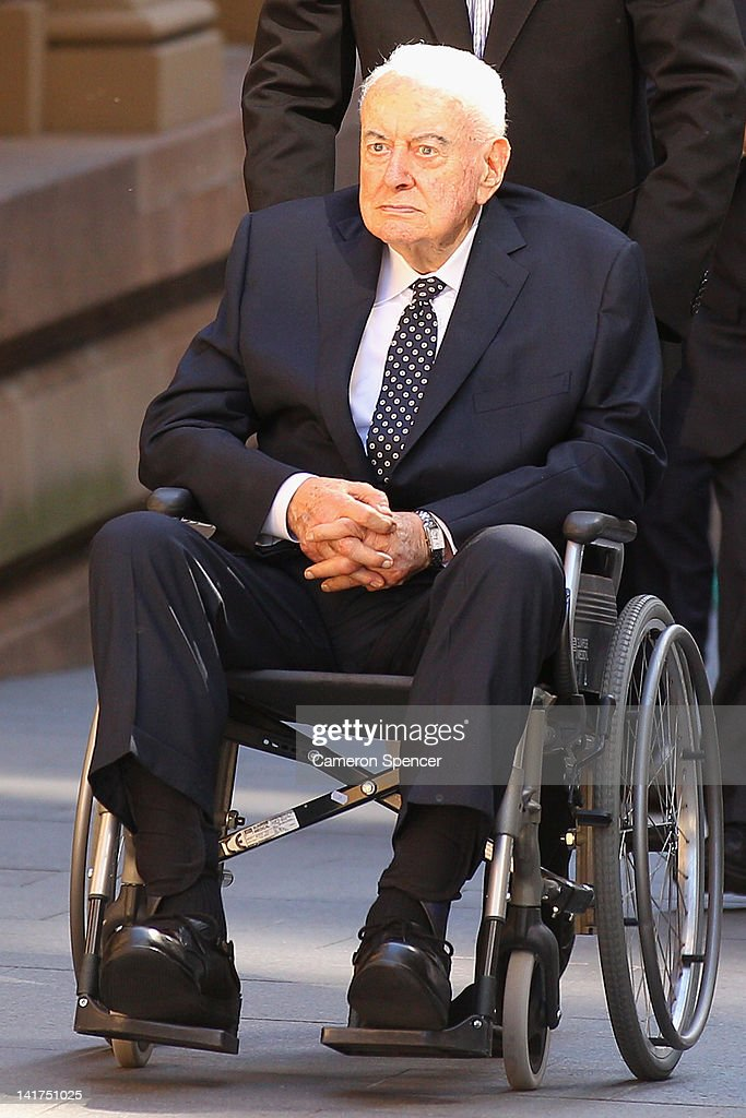 Former Australian Prime Minister Gough Whitlam arrives at the memorial service for his wife, Margaret Whitlam at St James Anglican Church on March 23, 2012 in Sydney, Australia. Mrs Whitlam, wife of former Australian Prime Minister Gough Whitlam died alst week at the age of 92.