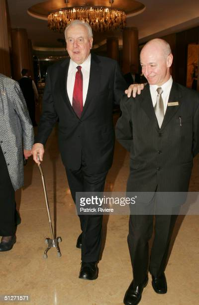 Former Australian Prime Minister Gough Whitlam arrives at the Sofitel Wentworth Gala Opening Night September 8 2004 in Sydney Australia