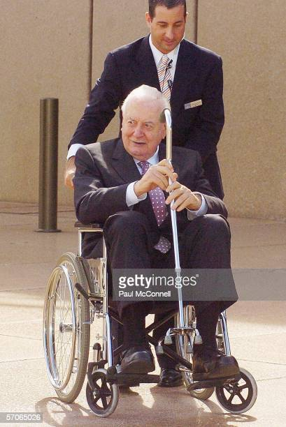 Former Australian Prime Minister Gough Whitlam arrives at the Sydney Opera House on March 13 2006 in Sydney Australia The Queen and Prince Philip are...