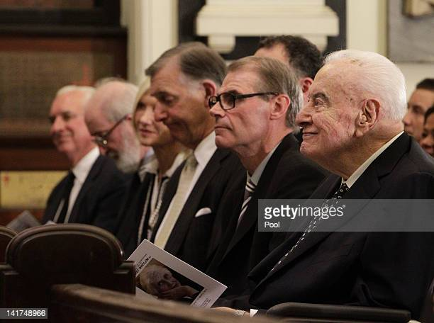 Former Australian Prime Minister Gough Whitlam attends the memorial service for his wife Margaret Whitlam at St James Anglican Church on March 23...