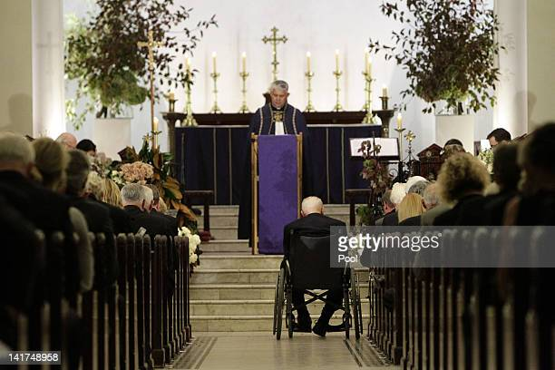 Former Australian Prime Minister Gough Whitlam in the aisle at the memorial service for his wife Margaret Whitlam at St James Anglican Church on...