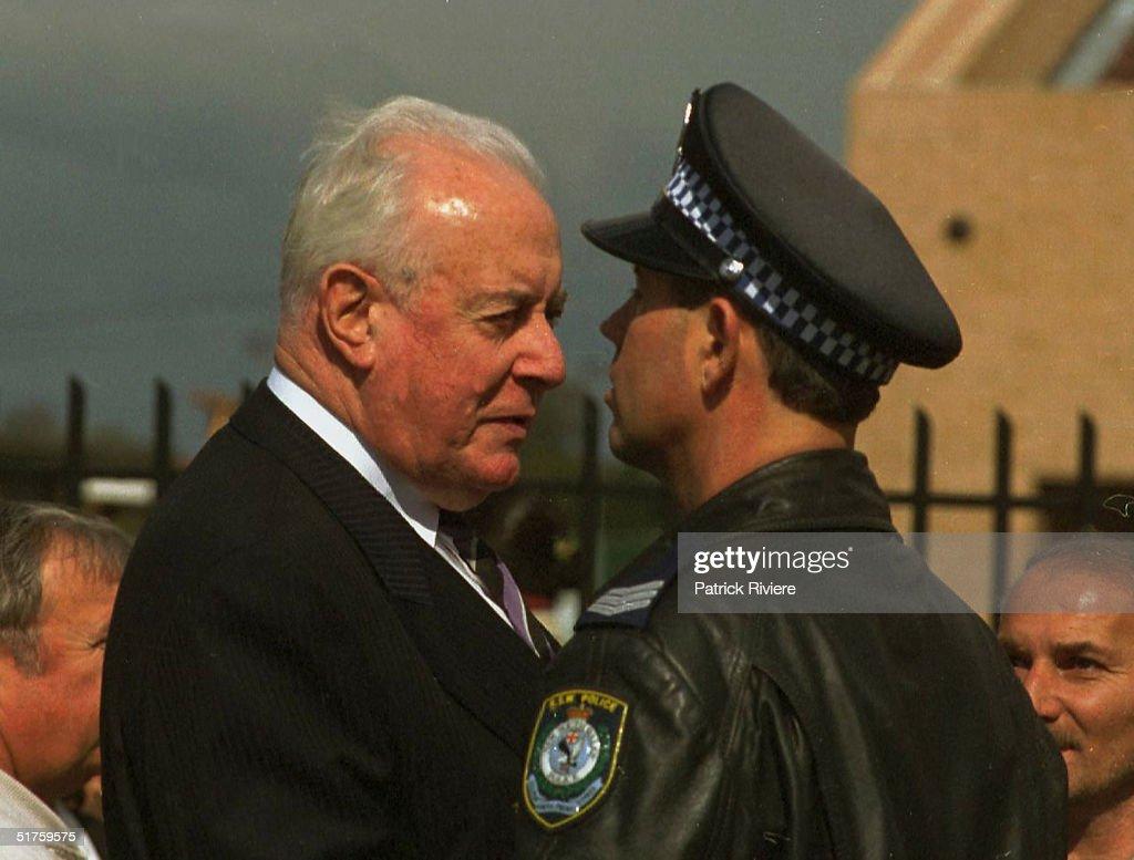 9 SEPTEMBER 1999 -Former Australian Prime Minister GOUGH WHITLAM - State Funeral of murdered Australian Labor Party member (ALP) for Cabramatta , John Newman . John Newman was Australia's first political assassination - Sydney.