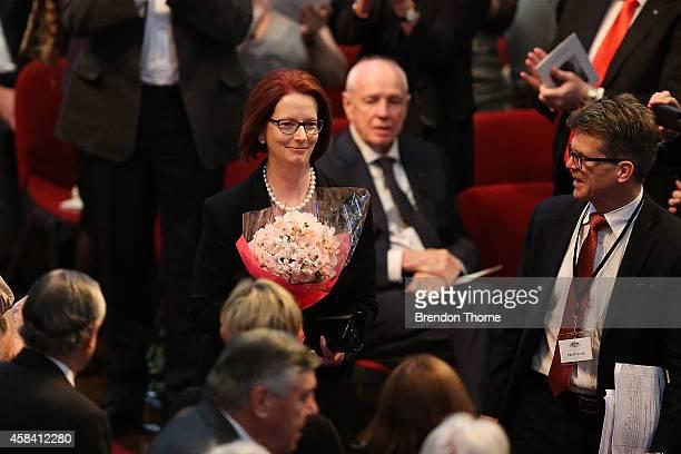 Former Australian Prime Minister Julia Gillard arrives at the state memorial service for former Australian Prime Minister Gough Whitlam at Sydney...